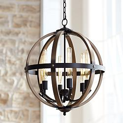 "Kimpton 6-Light 21"" Wide Dark Bronze Orb Chandelier"