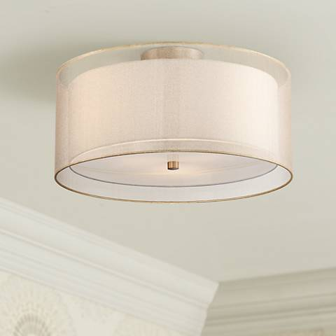 "Possini Euro Double Drum 18"" Wide Champagne Ceiling Light"