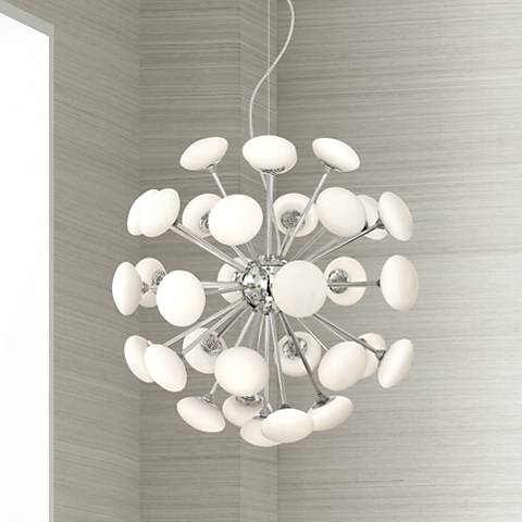 "DeCordova Chrome 21 1/2"" Wide Glass LED Chandelier"
