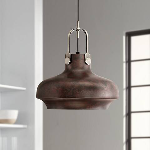 "Yardley 14"" Wide Antique Bronze Industrial Mini Pendant"