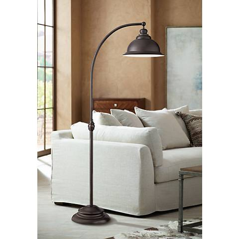wyatt ii bronze arc floor lamp 1f209 lamps plus 87829