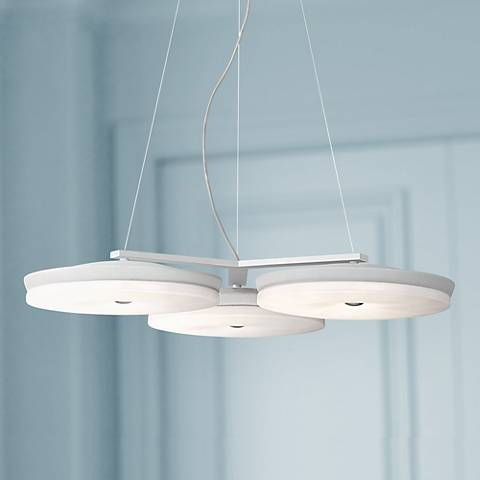 "Possini Euro Discus 27"" Wide White 3-Light LED Pendant"