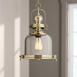 "Elida Antique Brass 11"" Wide Chrome Glass Mini Pendant Light"