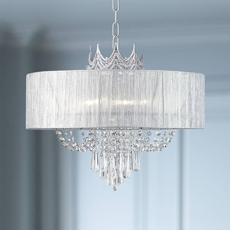 "Hallie 21"" Wide Draped Crown Crystal 6-Light Chandelier"