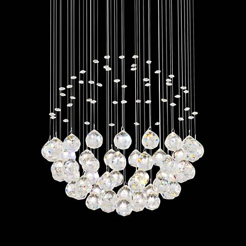 "Globus 16"" Wide Chrome and Glass Halogen Pendant Light"