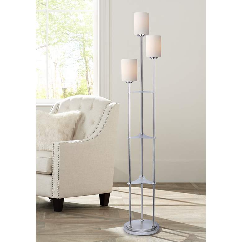 Lite Source Bess Brushed Nickel Metal 3-Light Floor Lamp