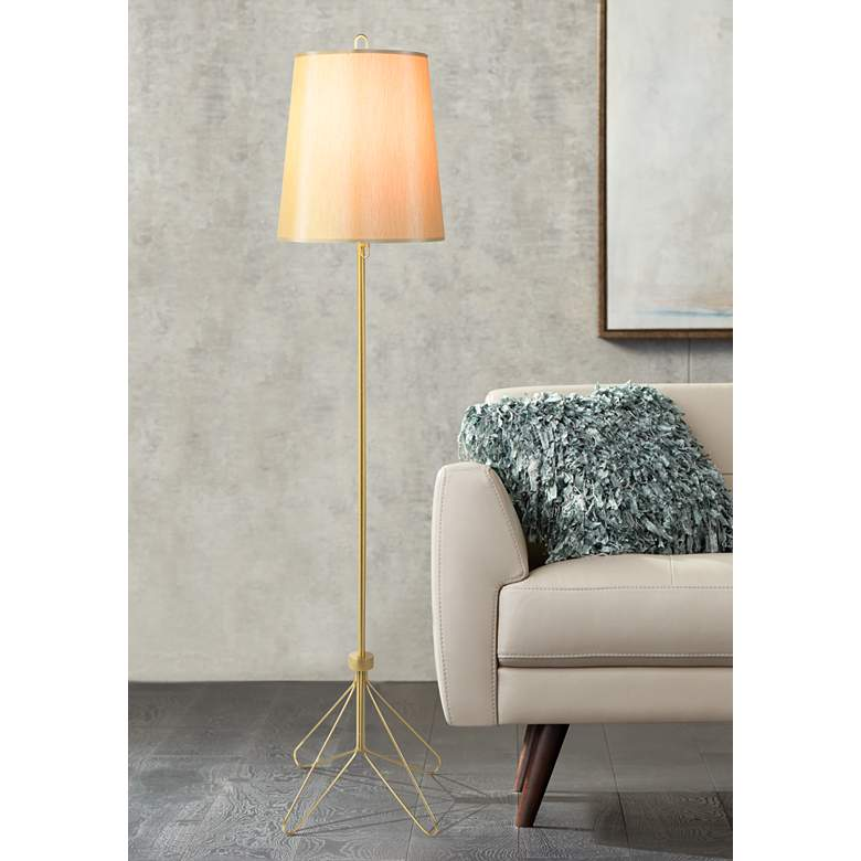 Lights Up! Croissant Silk Shade Modern Floor Lamp