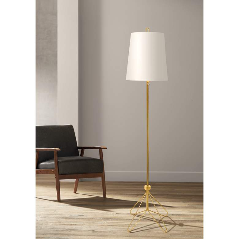 Lights Up! White Linen Shade Modern Floor Lamp
