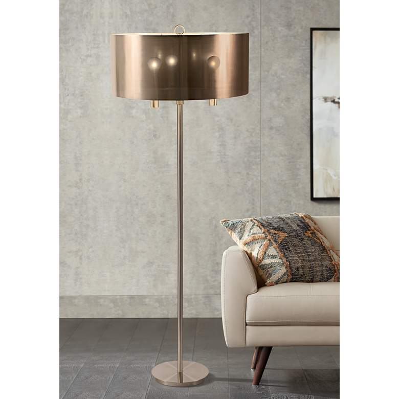 "Walker 68"" High Nickel with Copper Shade Floor Lamp"