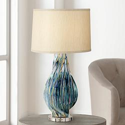 Teresa Teal Drip Modern Ceramic Table Lamp