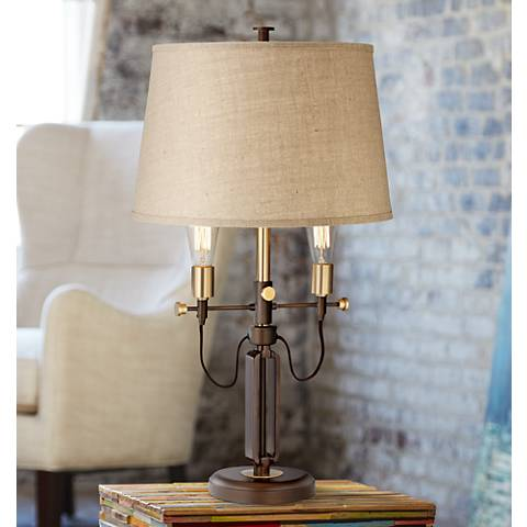 Franklin Iron Works Carter Adjustable 2-Arm Table Lamp