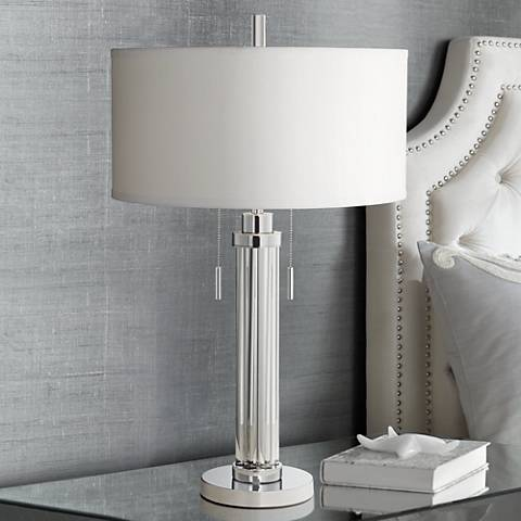 Possini Euro Cadence Glass Column Table Lamp 1f535