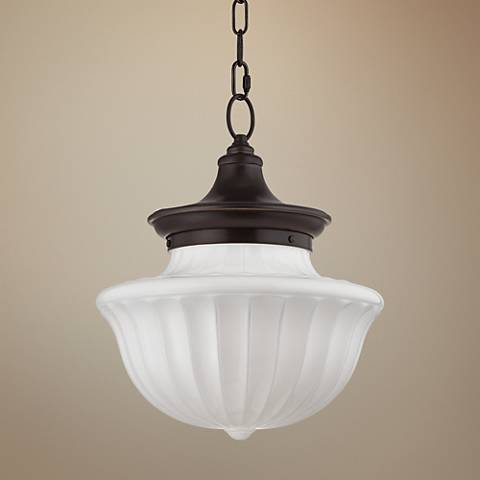 "Hudson Valley Dutchess 15"" Wide Old Bronze Pendant Light"