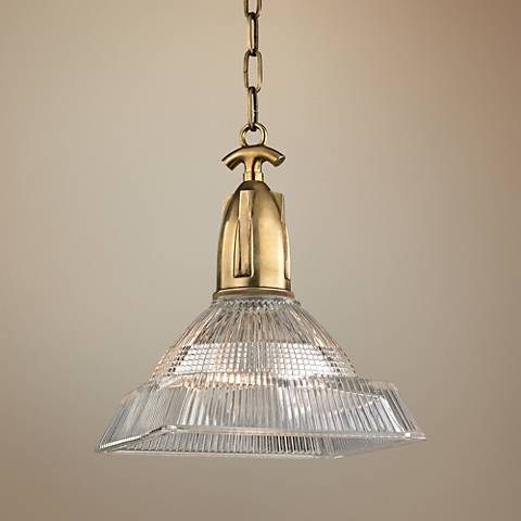 "Hudson Valley Langdon 11"" Wide Aged Brass Mini Pendant"