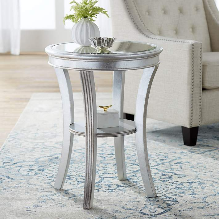 Brookhurst 20 Wide Kenney Silver Leaf Round Accent Table