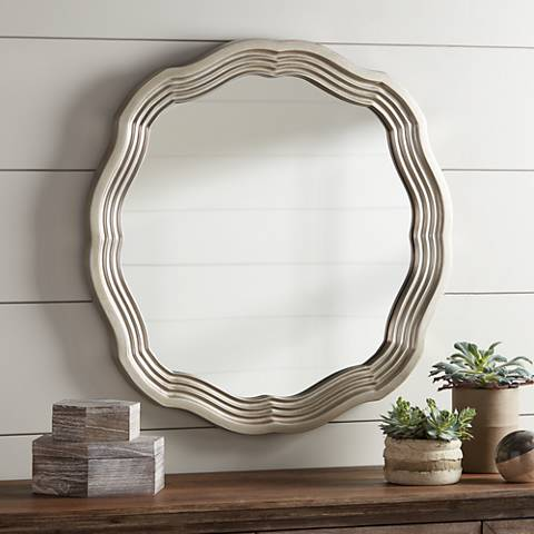 "Dara Silver 32 1/2"" Scalloped Wall Mirror"