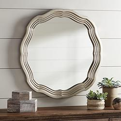 "Dara Silver 32 1/2"" Scalloped Round Wall Mirror"