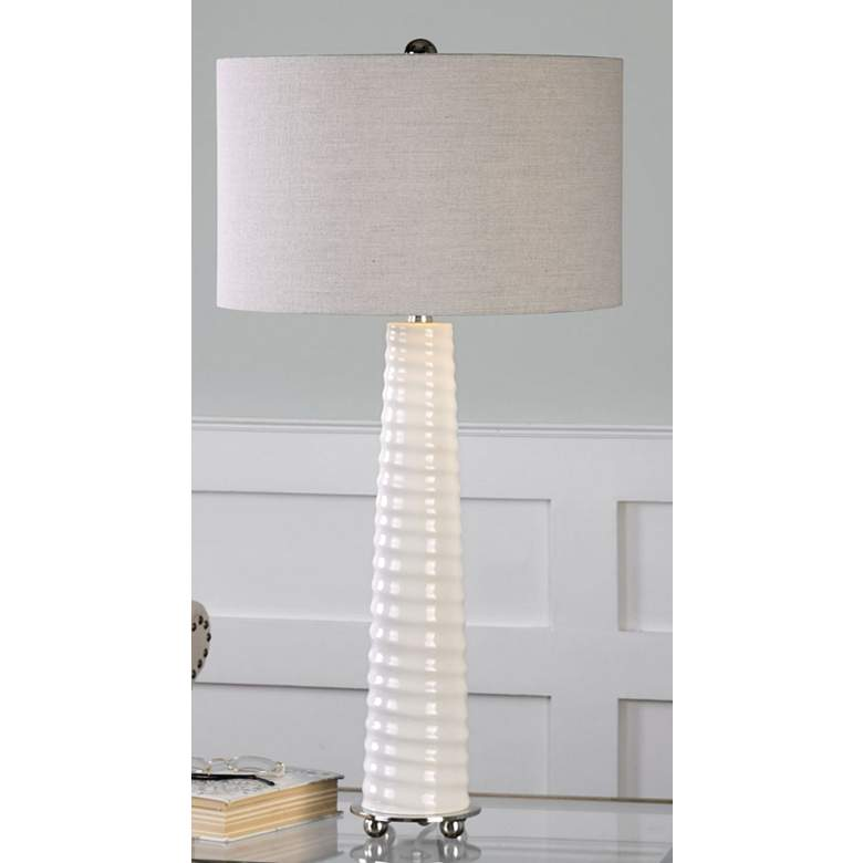 Uttermost Mavone Gloss White Glass Buffet Table Lamp