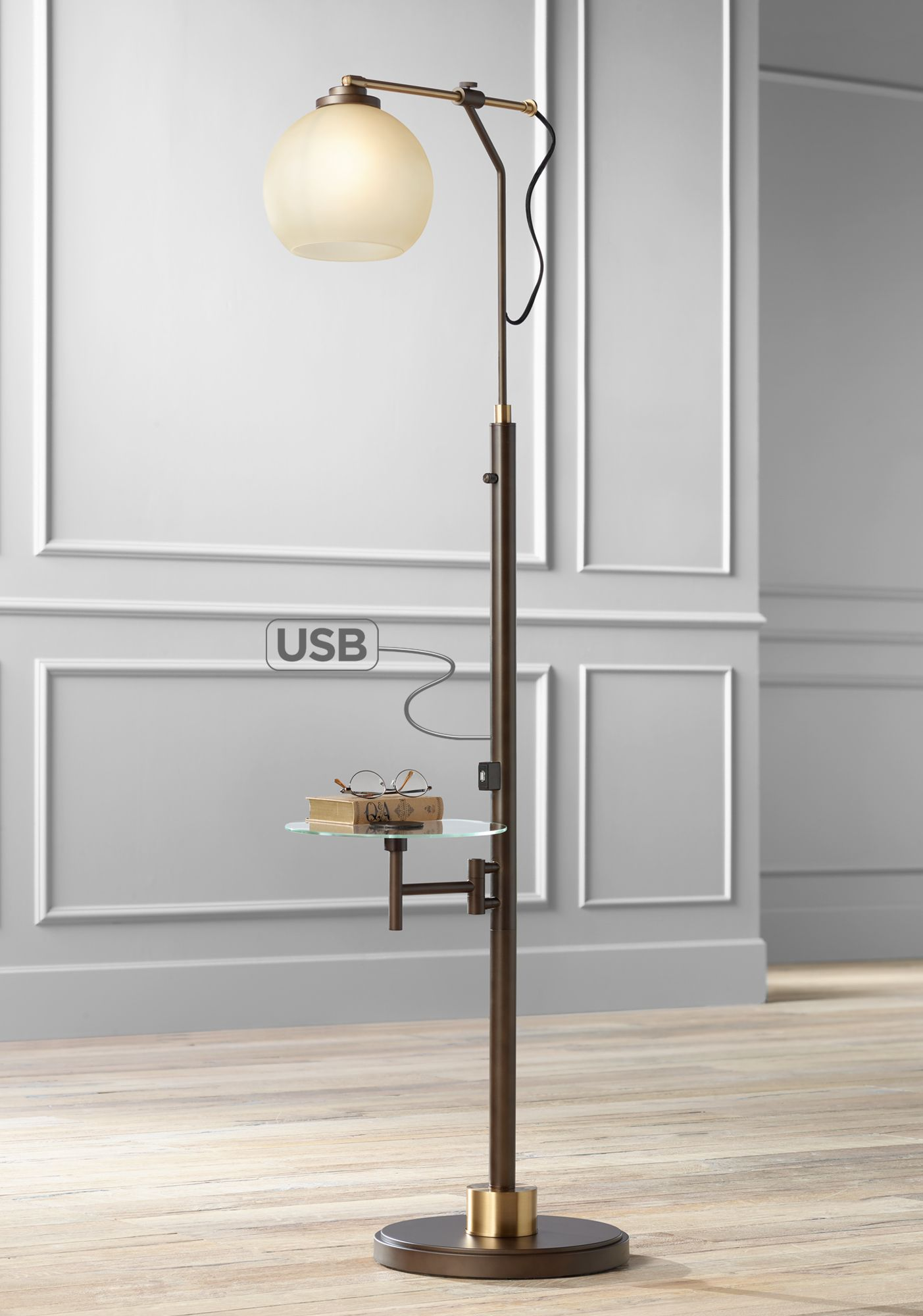 Jobe Industrial Floor Lamp With Tray Table And USB Port