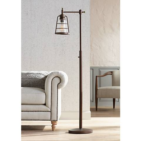 Averill Park Industrial Downbridge Bronze Floor Lamp