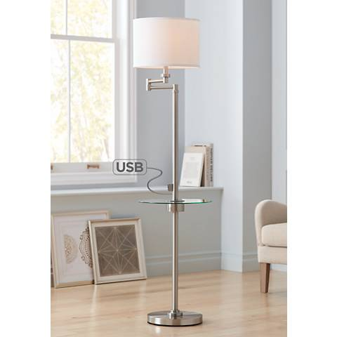 Skylar Brushed Nickel Tray Floor Lamp with USB Port