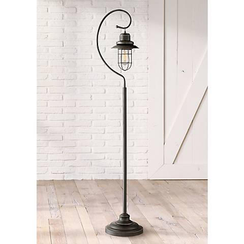 Ulysses Bronze Industrial Lantern Floor Lamp with 7W LED Bulb