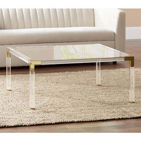 hanna square clear acrylic coffee table with gold corners - #1g405