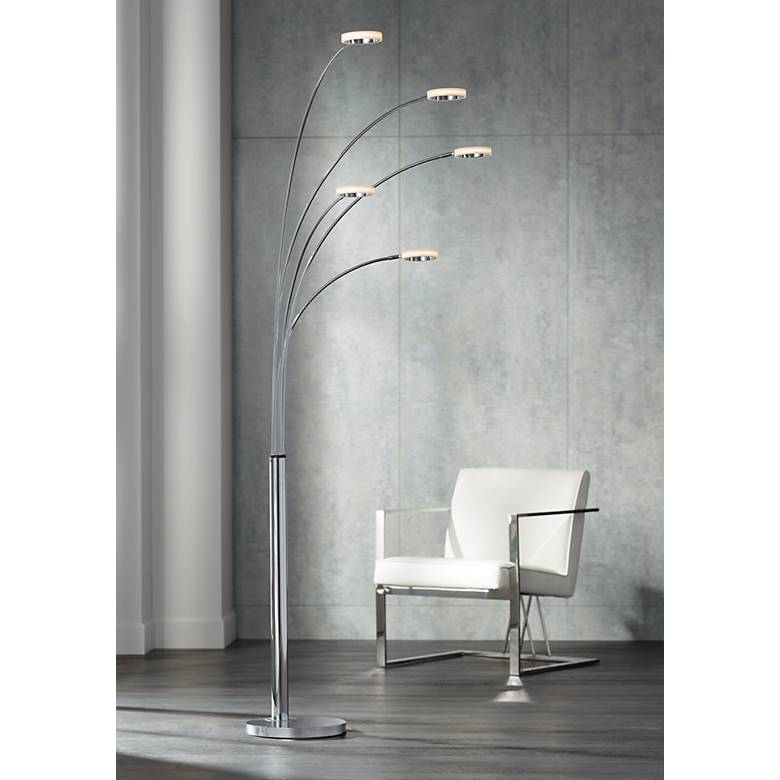 Possini Euro Aldo Chrome 5-Light LED Arc Floor Lamp