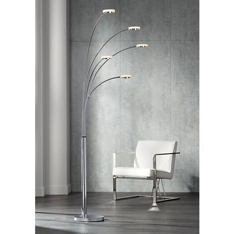 Possini Euro Aldo Chrome 5 Light Led Arc Floor Lamp