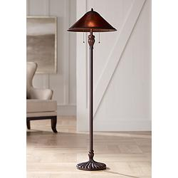 Capistrano Twin Light Pull Mica Shade Floor Lamp