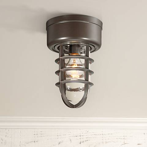 "Marlowe 10 3/4"" High Bronze Cage Industrial Ceiling Light"
