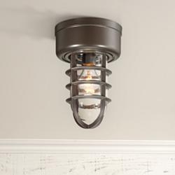 "Marlowe 10 3/4"" High Bronze Cage Outdoor Ceiling Light"
