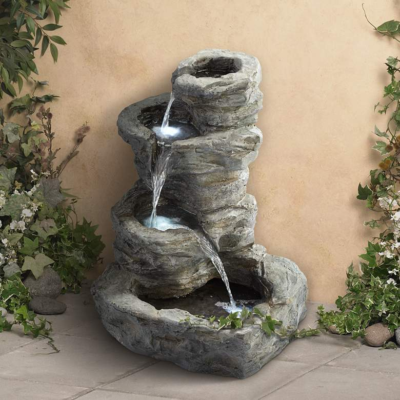 "Rock Cascade 22"" Gray Stone Outdoor Fountain with LED Light"