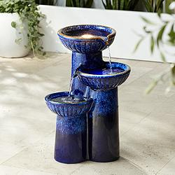 "3-Bowl 26 3/4"" High Blue Cobalt Ceramic LED Fountain"