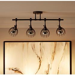 "Pro Track 30""W Metal Grid Bronze 4-Light Track Fixture"