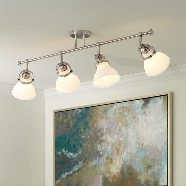 Luca 4-Light Satin Nickel Opal White Shades Track