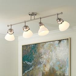 Luca 4-Light Satin Nickel Opal White Shades Track Fixture