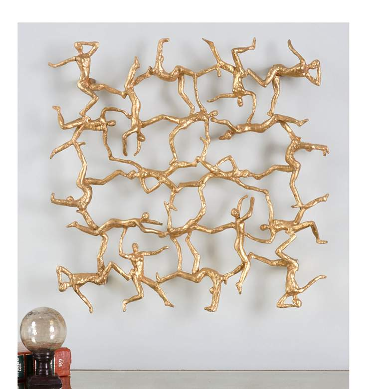 "Uttermost Golden Gymnasts Metallic Gold 19"" High Wall Art"