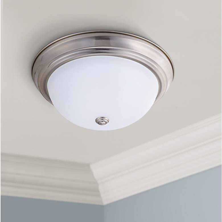 "Eco-Star Stepdown 15 1/4""W Satin Nickel LED Ceiling"