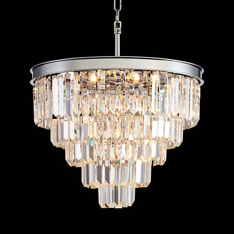 "Canberra 19 3/4"" Wide Chrome 12-Light Crystal Chandelier"