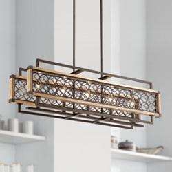 "Vickary 36 1/4""W Bronze Wood Kitchen Island Light Chandelier"