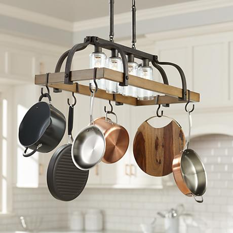 kitchen island pot rack lighting eldrige 36 1 2 quot wide 4 light bronze pot rack chandelier 24781