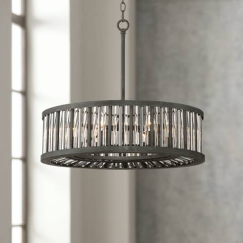 Brixton Black And Silver 24 Quot Wide Drum Pendant Light