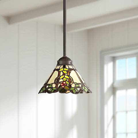 "Garden Vine 8"" Wide Tiffany Style Mini Pendant Light"