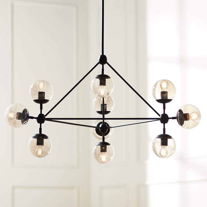 Wide Black Modern 10 Light Chandelier