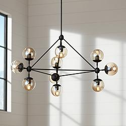 "Possini Euro Gable 40"" Wide 10-Light Black Chandelier"