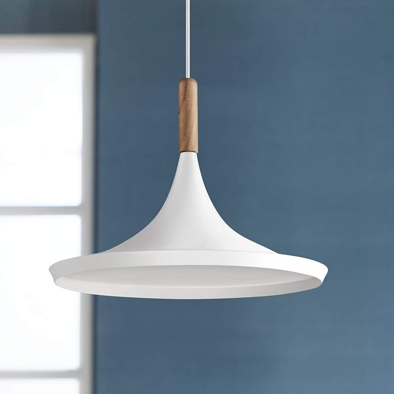 "Felton White Aluminum and Wood 14"" Wide Pendant Light"