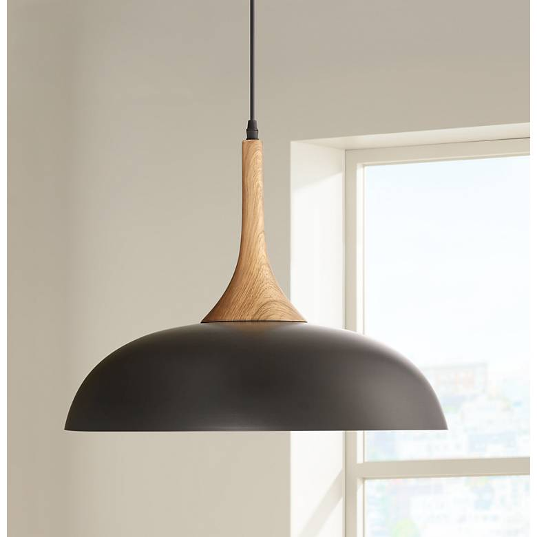 "Felton Black Aluminum and Wood 17 3/4"" Wide Pendant"