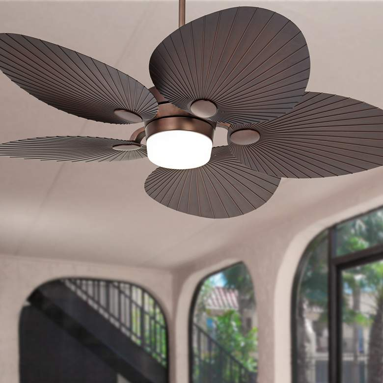 "52"" Casa Breeze Oil-Brushed Bronze LED Damp Ceiling Fan"