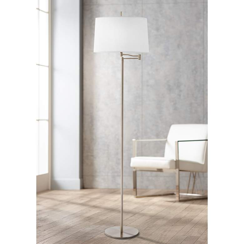 Enola Brushed Steel Swing Arm Floor Lamp